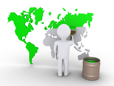 cgi: 3d person is painting green a world map