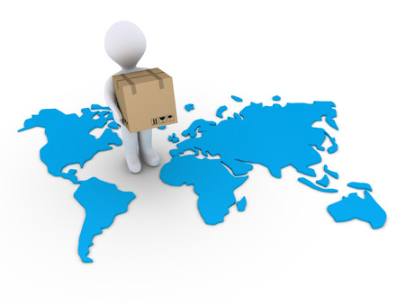 international shipping: 3d person holding a carton box on a world map Stock Photo