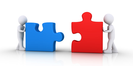 Two 3d people are pushing puzzle pieces in order to be connected