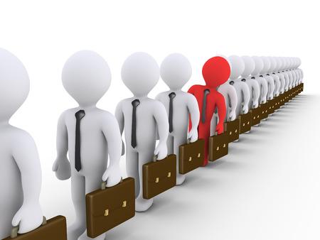 file d attente: Beaucoup d'hommes d'affaires 3d sont dans une rangée, mais un seul se détache