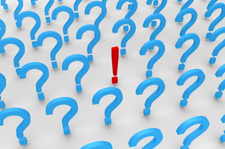 Many 3d question mark symbols and one exclamation mark photo