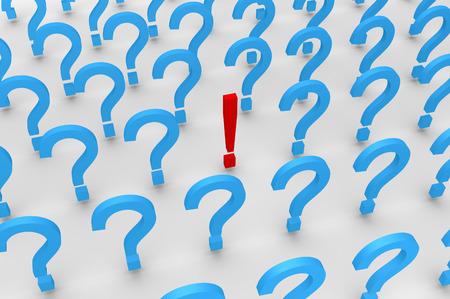 exclamation mark: Muchos símbolos de signo de interrogación 3d y un signo de exclamación