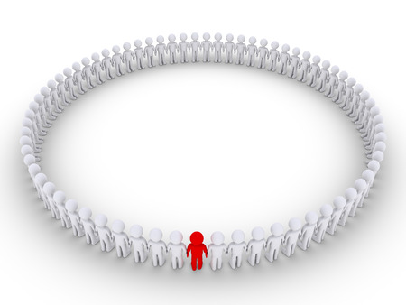 distinguish: 3d people form a very big circle but one is of different color Stock Photo