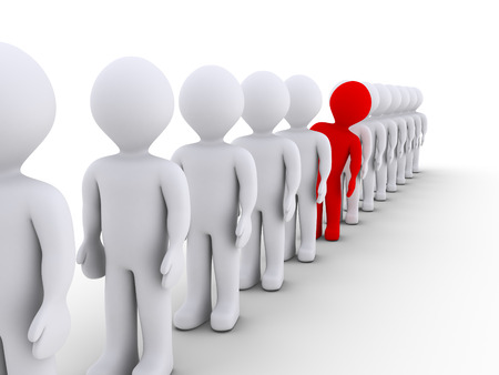 Many 3d people in a row but one stands out Stock Photo