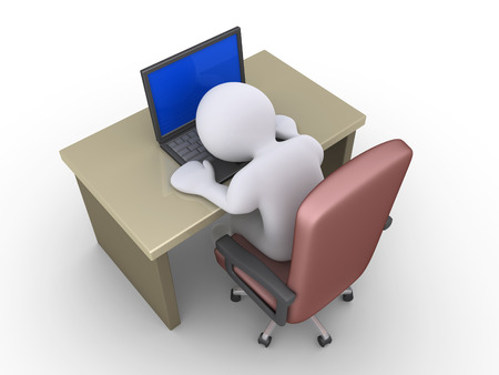 head down: 3d person is sleeping on a desk with a laptop