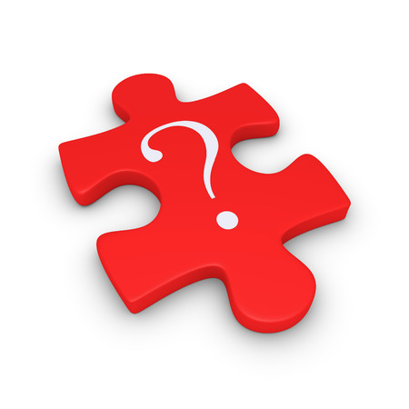 3d puzzle piece with a question mark symbol on it photo