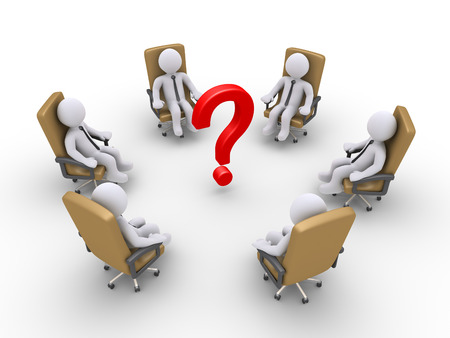 3d businessmen sitting on armchairs and a question mark in the middle Stock Photo - 24135499
