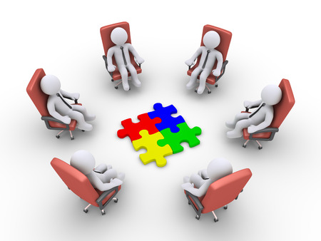 3d businessmen sitting on armchairs and four puzzle pieces in the middle Stock Photo - 24135494