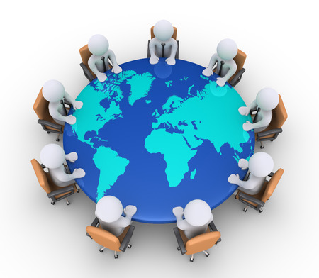 3d businessmen sitting on armchairs and a round table with the world map Stock Photo - 24135497