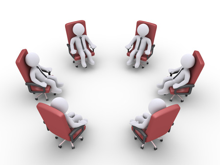 3d circle: 3d businessmen sitting on armchairs are forming a circle