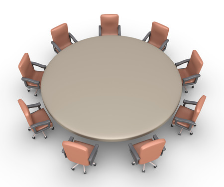 empty chair: Armchairs are around a table as preparation for a business meeting