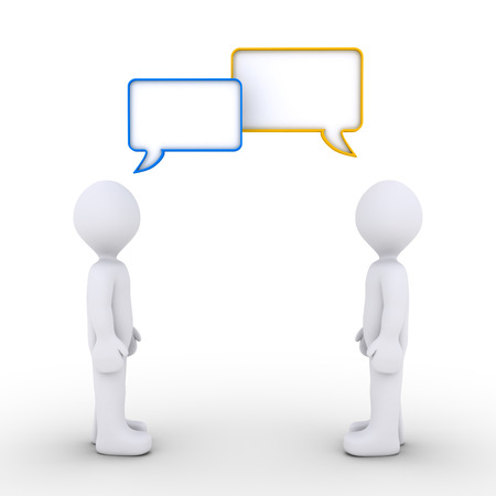 Two 3d persons are talking with speech bubbles Stock Photo