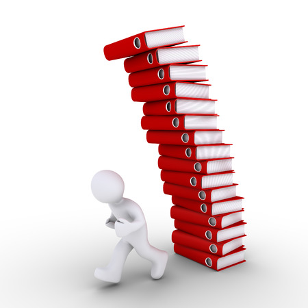 person falling: 3d person is running away from falling pile of folders Stock Photo