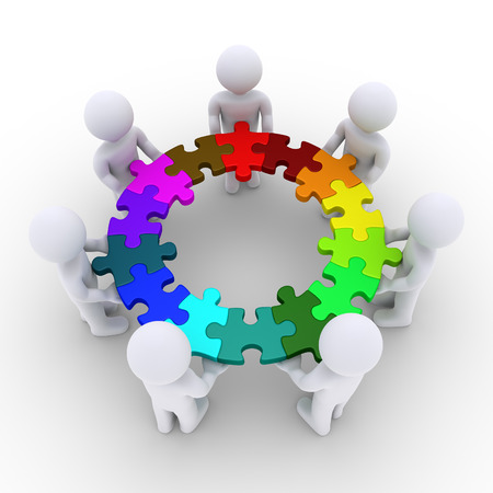team working together: 3d people are holding connected puzzle pieces that form a circle