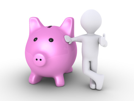 safe investment: 3d pig money box and a person leaning to it