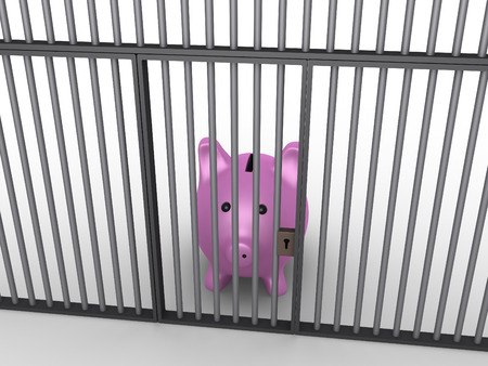 3d pig money box is in prison behind bars photo