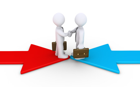 uniting: Two 3d businessmen on opposite direction arrows shake hands
