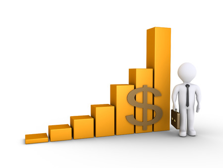 3d businessman is standing next to a rising graphic chart photo