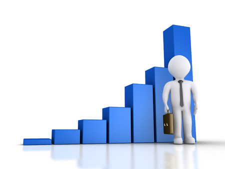 3d businessman is standing in front of a rising graphic chart photo