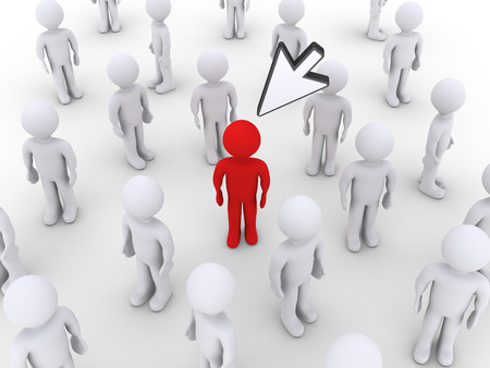 distinguish: 3d mouse pointer is over a person among other ones Stock Photo