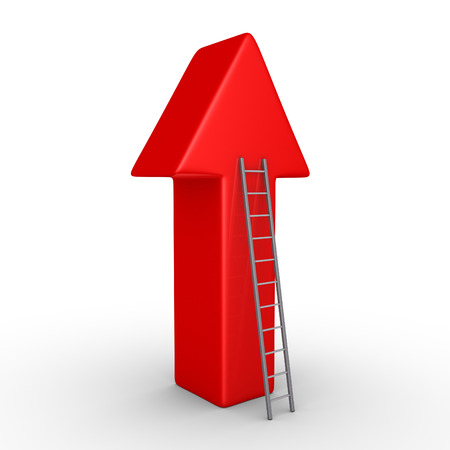 high way: 3d arrow pointing upwards and a ladder leaning to it
