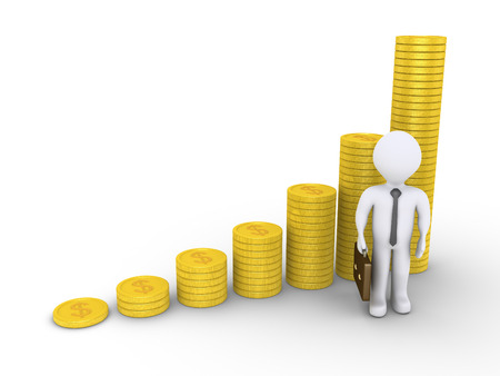 3d graphic chart of dollar coins and a businessman near them photo