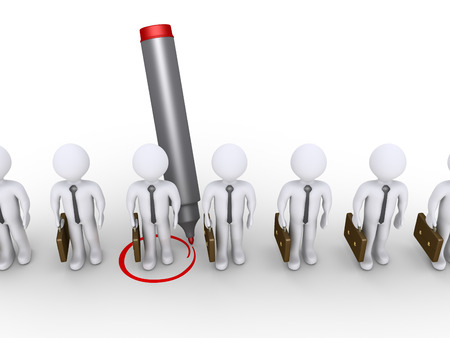 distinguish: 3d businessman is being selected by a marker among others Stock Photo
