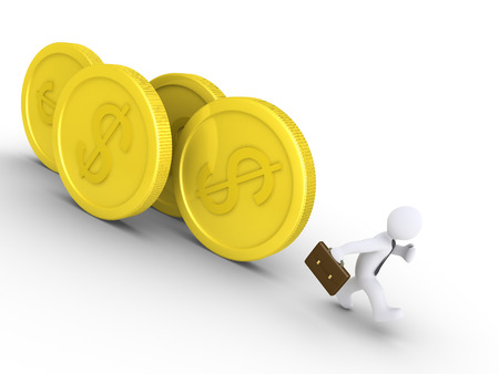 chased: 3d businessman is being chased by rolling dollar coins