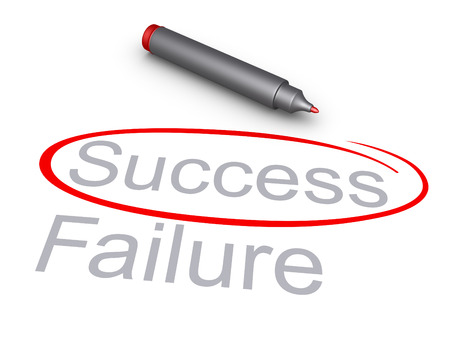 check out: Success word is circled rather than the Failure word, and a marker Stock Photo