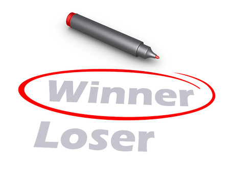 loser: Winner word is circled rather than the Loser word, and a marker Stock Photo