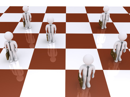 3d businessmen standing on a chess board as pawns photo