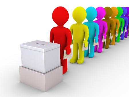 voters: 3d people standing in a row are in front of a ballot box