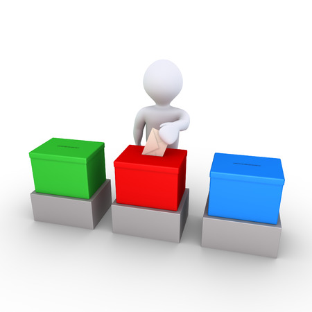 inserting: 3d person is inserting an envelope to one ballot box out of three