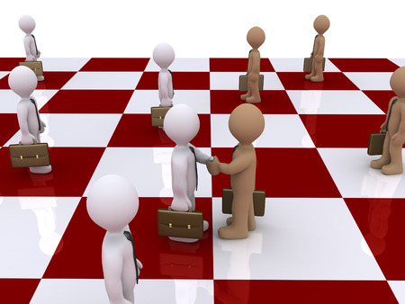 3d businessmen standing on a chess board and two of them shake hands photo