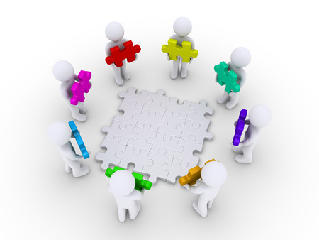 people together: 3d people holding puzzle pieces around connected ones Stock Photo