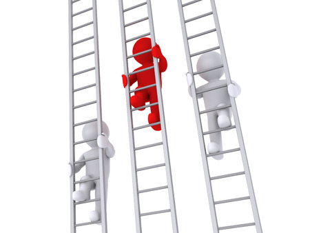 opponents: 3d people are climbing three ladders as a competition
