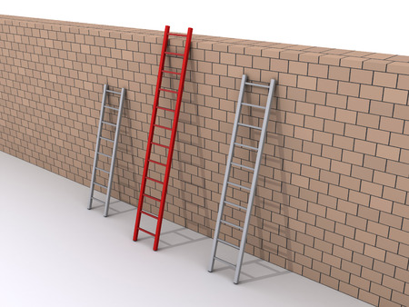 bigger: Three ladders are leaning against a wall, but one is bigger
