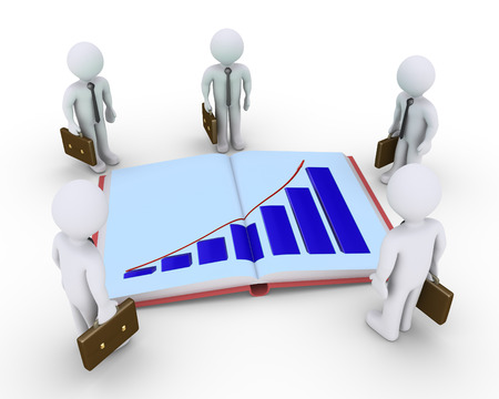 Businessmen are around an opened book with a graphic chart photo