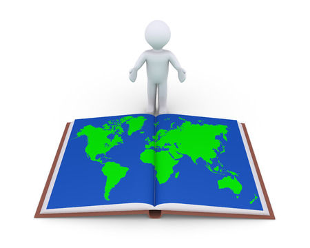 student travel: Person is showing an opened book with the world map in its page Stock Photo