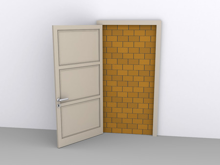 blocked: Opened doorway is blocked by a brick wall Stock Photo