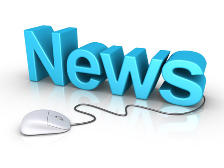 3d News word and a mouse is connected to it photo