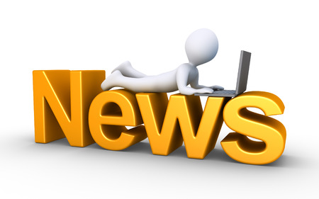 news update: 3d person with a laptop is lying on top of a News word