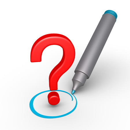 3d question mark is selected with circle by a marker photo