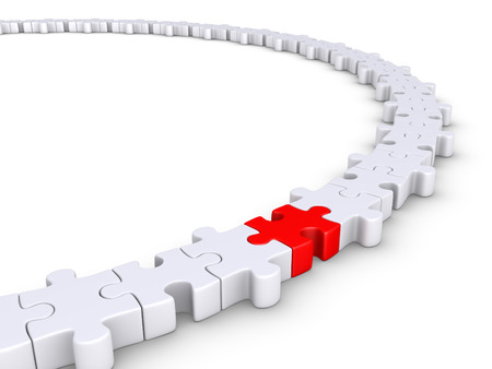 uniting: Connected puzzle pieces form a circle but one is of different color Stock Photo