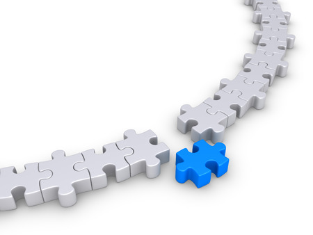 special individual: One puzzle piece is outside the circle formed by other ones Stock Photo