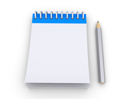 calendario escolar: Cuaderno vacío 3d con un lápiz junto a él