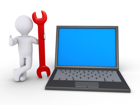 setup man: 3d person with a wrench is standing beside an opened laptop