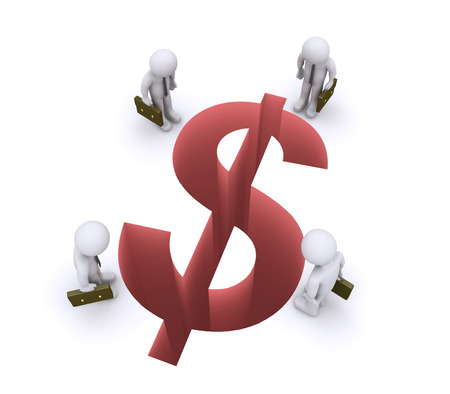3d businessmen are looking down at a dollar shaped gap photo