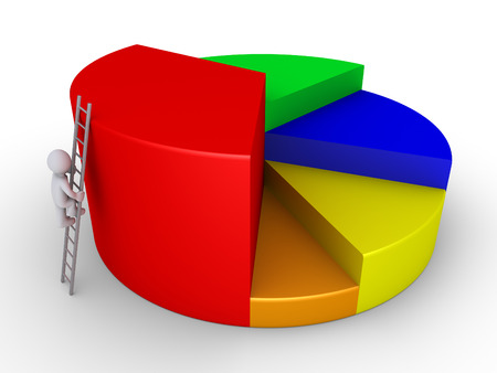 obtain: 3d businessman is climbing ladder to the top of pie chart