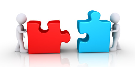 Two 3d businessmen are pushing different puzzle pieces photo